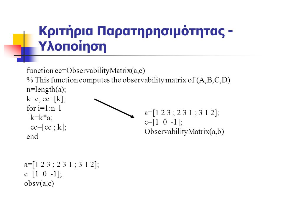 Κριτήρια Παρατηρησιμότητας - Υλοποίηση function cc=ObservabilityMatrix(a,c) % This function computes the observability matrix of (A,B,C,D) n=length(a)