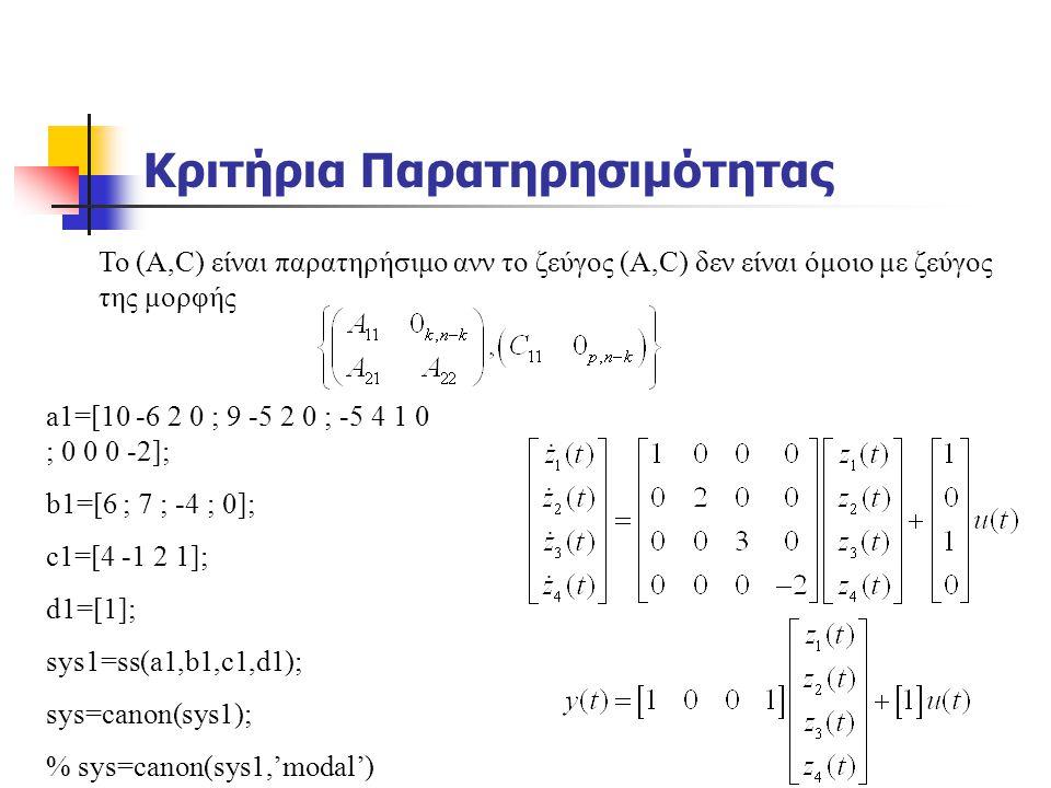 Κριτήρια Παρατηρησιμότητας a1=[10 -6 2 0 ; 9 -5 2 0 ; -5 4 1 0 ; 0 0 0 -2]; b1=[6 ; 7 ; -4 ; 0]; c1=[4 -1 2 1]; d1=[1]; sys1=ss(a1,b1,c1,d1); sys=cano