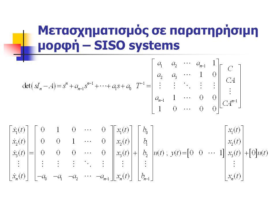 Μετασχηματισμός σε παρατηρήσιμη μορφή – SISO systems