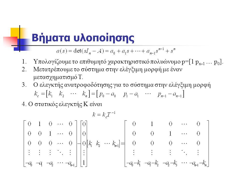 Βήματα υλοποίησης 1.Υπολογίζουμε το επιθυμητό χαρακτηριστικό πολυώνυμο p=[1 p n-1 … p 0 ]. 2.Μετατρέπουμε το σύστημα στην ελέγξιμη μορφή με έναν μετασ