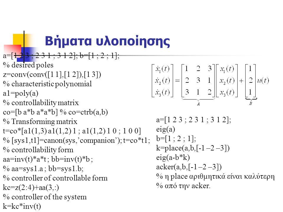 Βήματα υλοποίησης a=[1 2 3 ; 2 3 1 ; 3 1 2]; b=[1 ; 2 ; 1]; % desired poles z=conv(conv([1 1],[1 2]),[1 3]) % characteristic polynomial a1=poly(a) % c