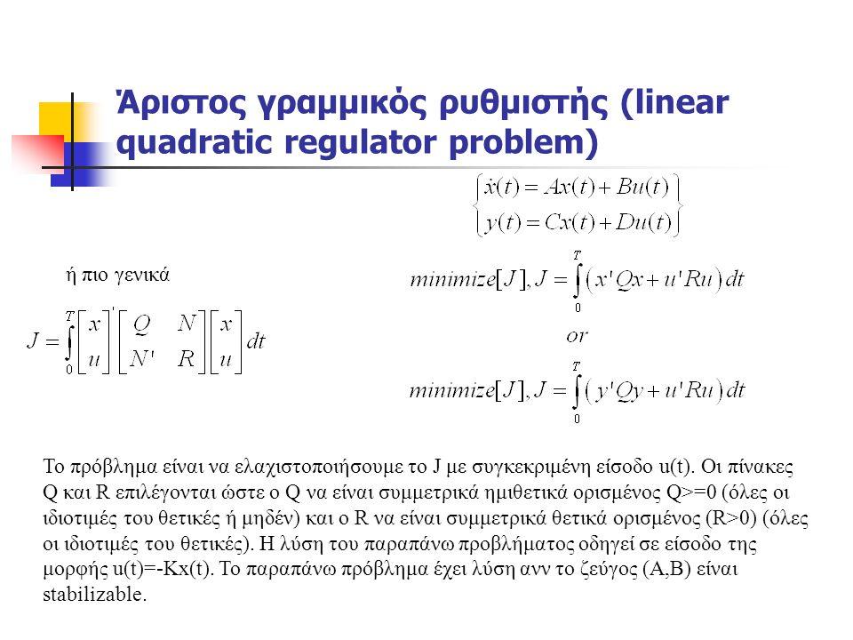 Άριστος γραμμικός ρυθμιστής (linear quadratic regulator problem) Το πρόβλημα είναι να ελαχιστοποιήσουμε το J με συγκεκριμένη είσοδο u(t). Οι πίνακες Q