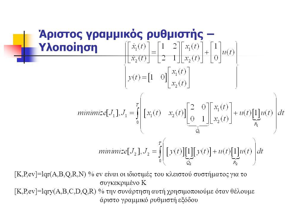 Άριστος γραμμικός ρυθμιστής – Υλοποίηση [K,P,ev]=lqr(A,B,Q,R,Ν) % ev είναι οι ιδιοτιμές του κλειστού συστήματος για το συγκεκριμένο Κ [K,P,ev]=lqry(A,