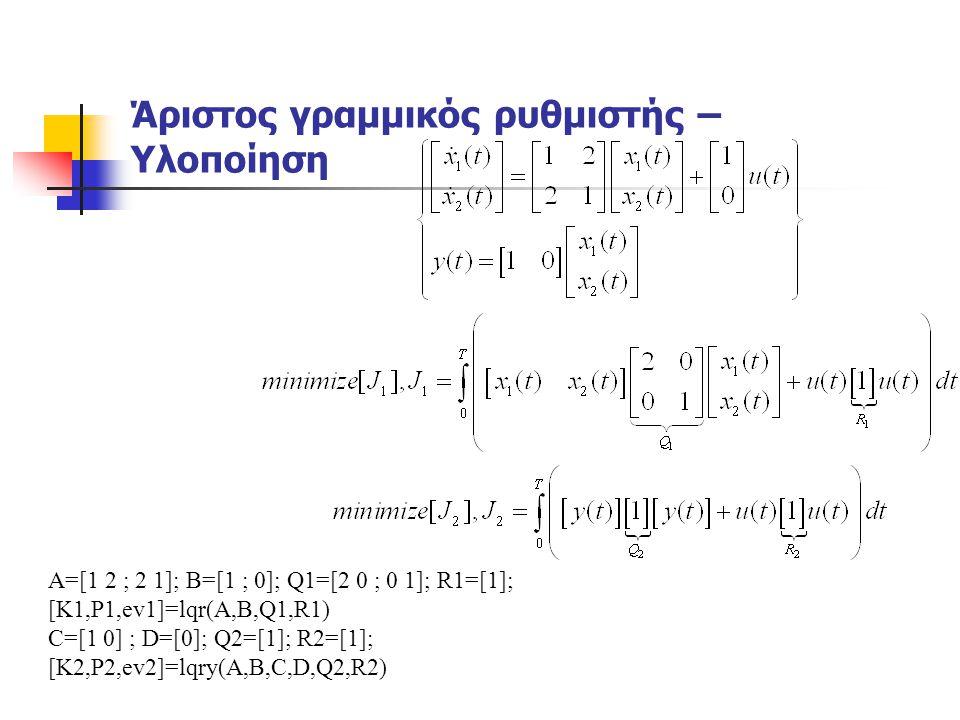 Άριστος γραμμικός ρυθμιστής – Υλοποίηση A=[1 2 ; 2 1]; B=[1 ; 0]; Q1=[2 0 ; 0 1]; R1=[1]; [K1,P1,ev1]=lqr(A,B,Q1,R1) C=[1 0] ; D=[0]; Q2=[1]; R2=[1];