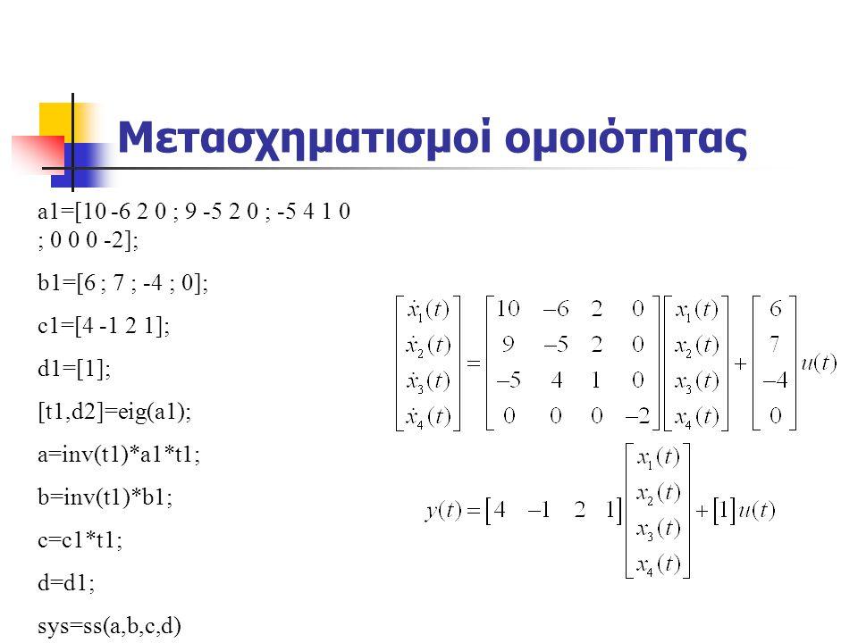 Μετασχηματισμοί ομοιότητας a1=[10 -6 2 0 ; 9 -5 2 0 ; -5 4 1 0 ; 0 0 0 -2]; b1=[6 ; 7 ; -4 ; 0]; c1=[4 -1 2 1]; d1=[1]; [t1,d2]=eig(a1); a=inv(t1)*a1*