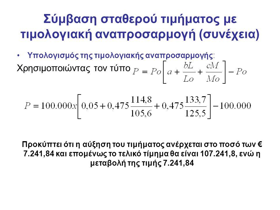 Σύμβαση σταθερού τιμήματος με τιμολογιακή αναπροσαρμογή (συνέχεια) Υπολογισμός της τιμολογιακής αναπροσαρμογής: Χρησιμοποιώντας τον τύπο Προκύπτει ότι η αύξηση του τιμήματος ανέρχεται στο ποσό των € 7.241,84 και επομένως το τελικό τίμημα θα είναι 107.241,8, ενώ η μεταβολή της τιμής 7.241,84