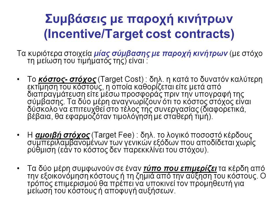 Συμβάσεις με παροχή κινήτρων (Incentive/Target cost contracts) Τα κυριότερα στοιχεία μίας σύμβασης με παροχή κινήτρων (με στόχο τη μείωση του τιμήματός της) είναι : Το κόστος- στόχος (Target Cost) : δηλ.