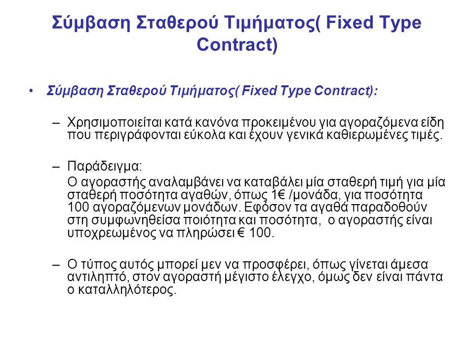 Σύμβαση Σταθερού Τιμήματος( Fixed Type Contract) Σύμβαση Σταθερού Τιμήματος( Fixed Type Contract): –Χρησιμοποιείται κατά κανόνα προκειμένου για αγοραζόμενα είδη που περιγράφονται εύκολα και έχουν γενικά καθιερωμένες τιμές.