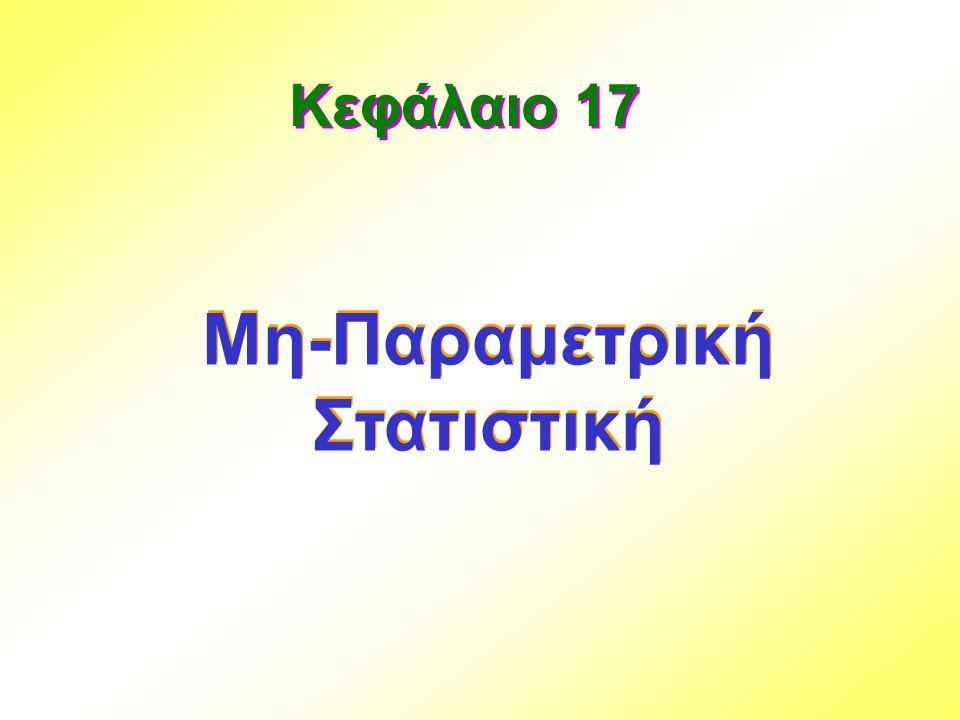 Παράδειγμα 17.2… Η π-τιμή του ελέγχου είναι: π-τιμή = P(Z > 1.83) =.5 -.4664 =.0336 (ή Z=1.83 > Z κριτική =1.645) ΥΠΟΛΟΓΙΣΤΕ T - E(T) 276.5 – 232.5 Z = = = 1.83 σ T 24.1