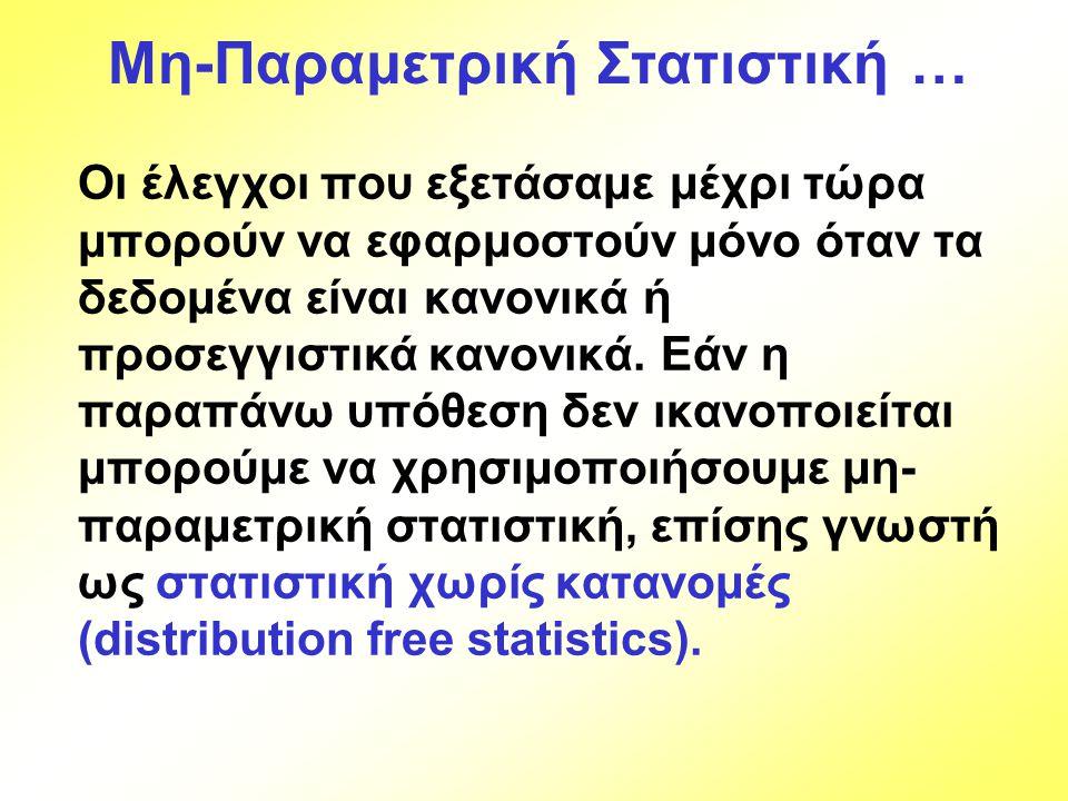 Παράδειγμα 17.5… Μπορούμε να συγκρίνουμε βαθμολογίες (4=καλό … 1=φτωχό) για «ταχύτητα εξυπηρέτησης» σε τρεις βάρδιες σε ένα εστιατόριο ταχείας εξυπηρέτησης; Οι υποθέσεις είναι: H 0 : Τα μέτρα θέσης των τριών πληθυσμών είναι ίσα.