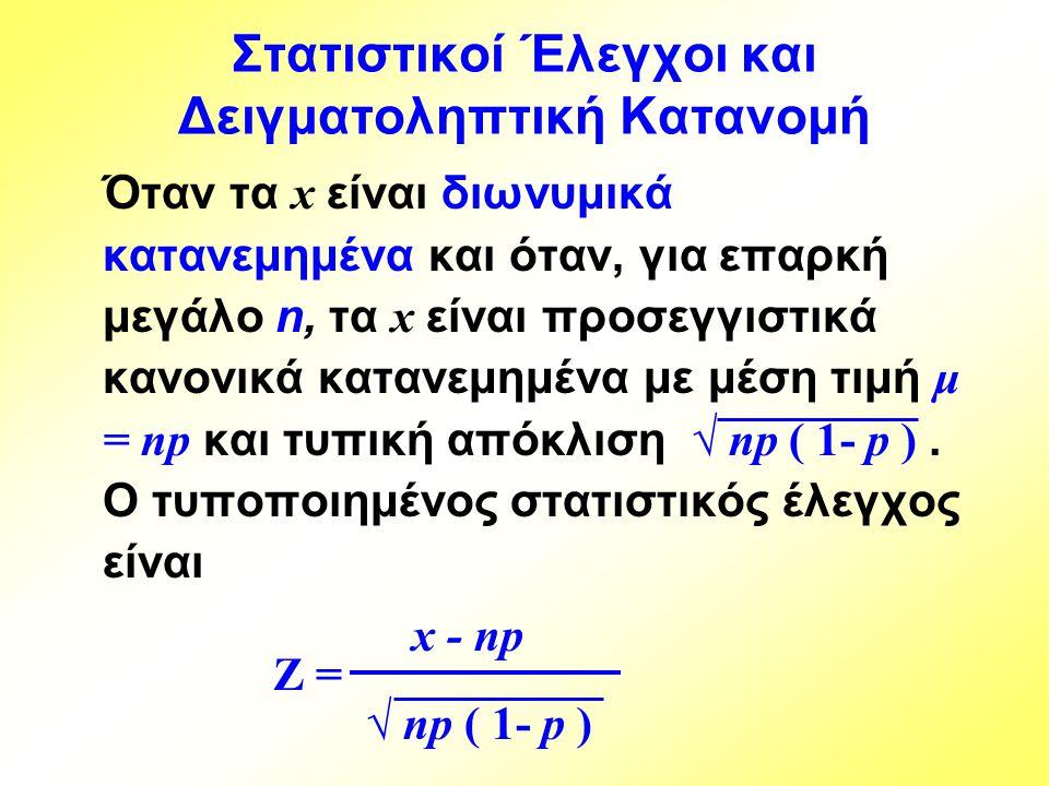 Στατιστικοί Έλεγχοι και Δειγματοληπτική Κατανομή Όταν τα x είναι διωνυμικά κατανεμημένα και όταν, για επαρκή μεγάλο n, τα x είναι προσεγγιστικά κανονι