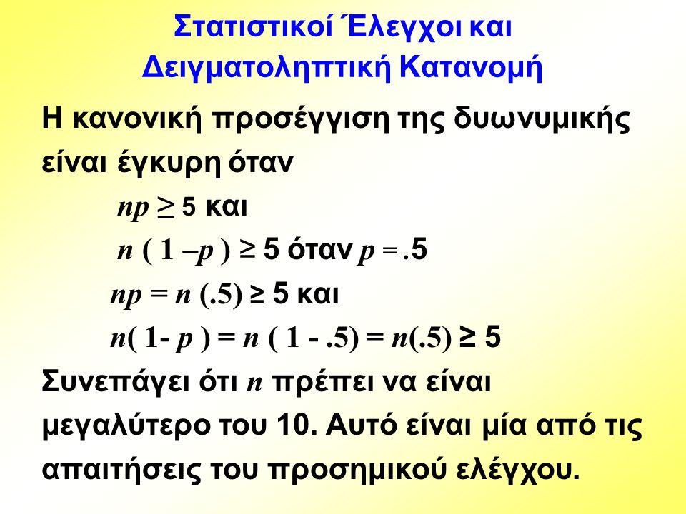 Η κανονική προσέγγιση της δυωνυμικής είναι έγκυρη όταν np ≥ 5 και n ( 1 –p ) ≥ 5 όταν p =. 5 np = n (.5) ≥ 5 και n( 1- p ) = n ( 1 -.5) = n(.5) ≥ 5 Συ