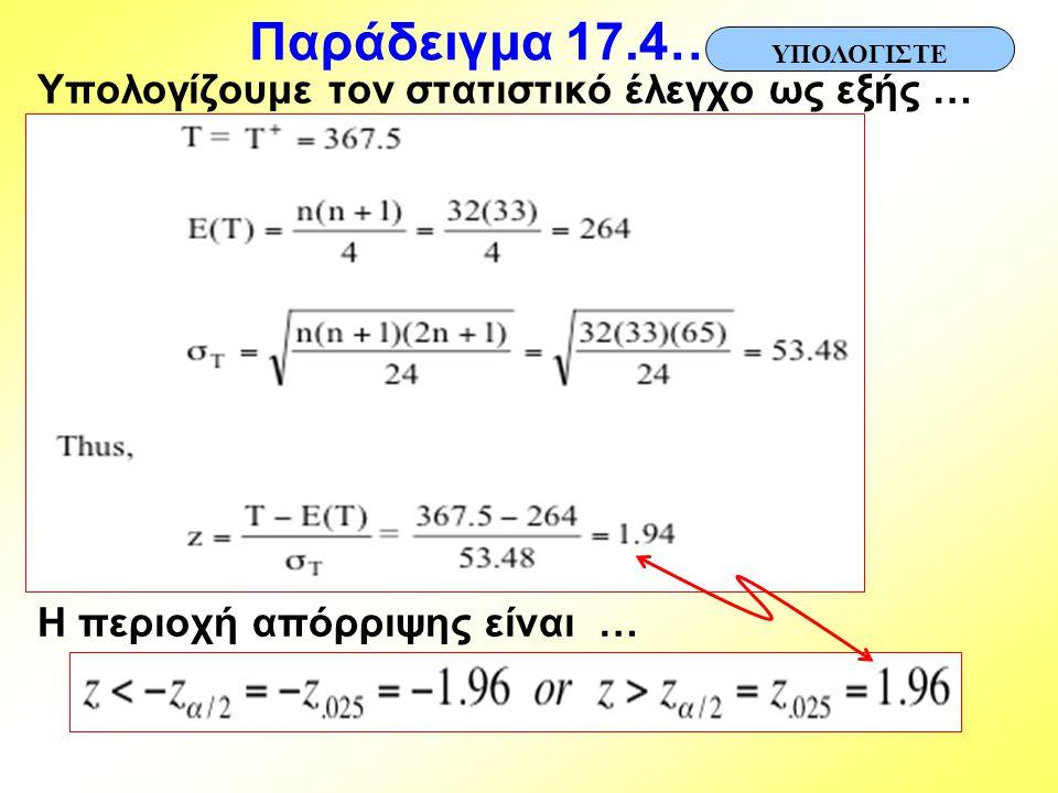 Παράδειγμα 17.4… Υπολογίζουμε τον στατιστικό έλεγχο ως εξής … Η περιοχή απόρριψης είναι … ΥΠΟΛΟΓΙΣΤΕ