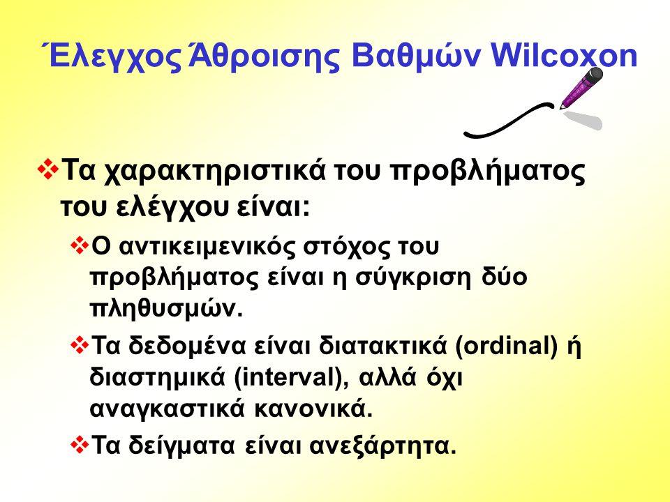 Έλεγχος Άθροισης Βαθμών Wilcoxon  Τα χαρακτηριστικά του προβλήματος του ελέγχου είναι:  Ο αντικειμενικός στόχος του προβλήματος είναι η σύγκριση δύο