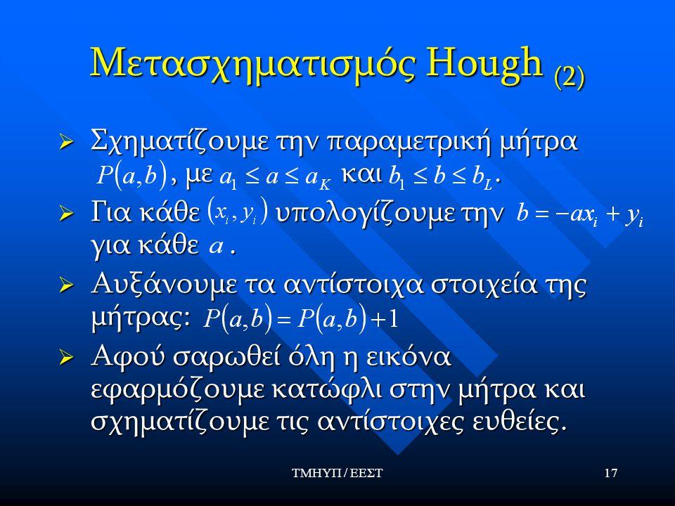 ΤΜΗΥΠ / ΕΕΣΤ17 Μετασχηματισμός Hough (2)  Σχηματίζουμε την παραμετρική μήτρα, με και.  Για κάθε υπολογίζουμε την για κάθε.  Αυξάνουμε τα αντίστοιχα