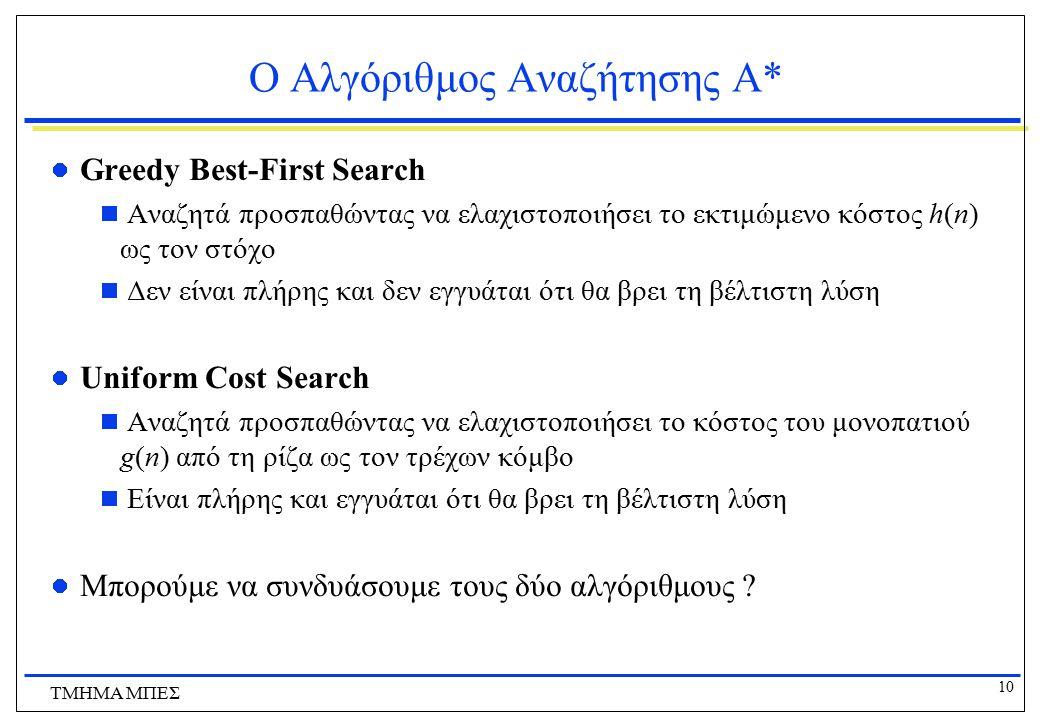 10 ΤΜΗΜΑ ΜΠΕΣ Ο Αλγόριθμος Αναζήτησης Α* Greedy Best-First Search  Αναζητά προσπαθώντας να ελαχιστοποιήσει το εκτιμώμενο κόστος h(n) ως τον στόχο  Δ