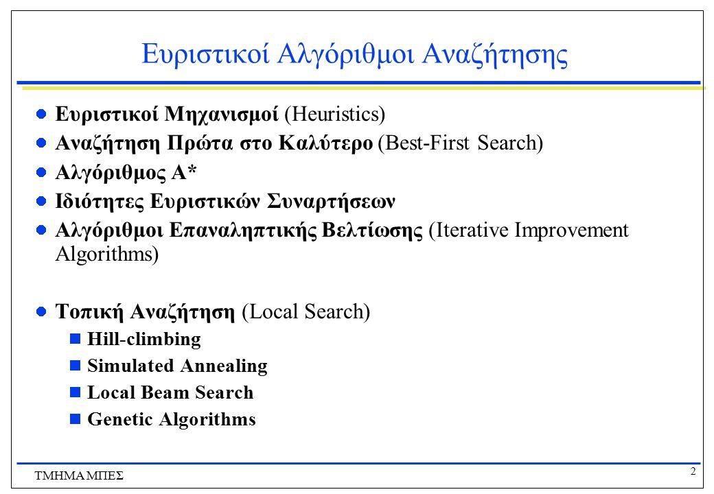 2 ΤΜΗΜΑ ΜΠΕΣ Ευριστικοί Αλγόριθμοι Αναζήτησης Ευριστικοί Μηχανισμοί (Heuristics) Αναζήτηση Πρώτα στο Καλύτερο (Best-First Search) Αλγόριθμος Α* Ιδιότη