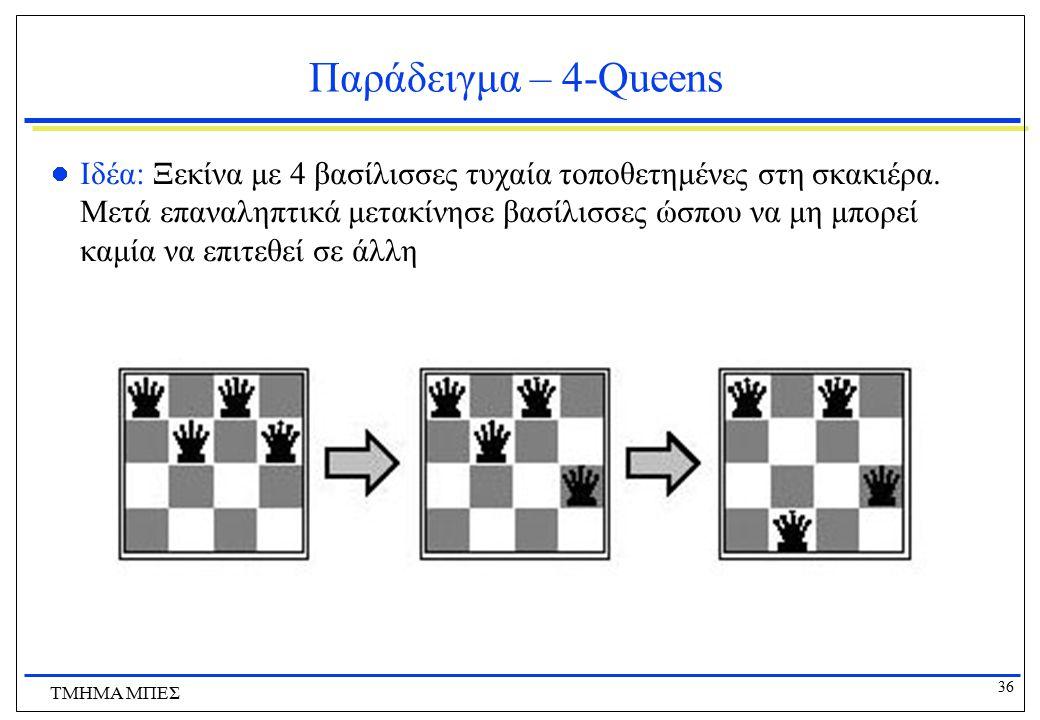 36 ΤΜΗΜΑ ΜΠΕΣ Παράδειγμα – 4-Queens Ιδέα: Ξεκίνα με 4 βασίλισσες τυχαία τοποθετημένες στη σκακιέρα. Μετά επαναληπτικά μετακίνησε βασίλισσες ώσπου να μ