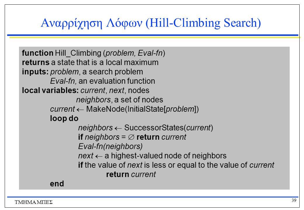 39 ΤΜΗΜΑ ΜΠΕΣ Αναρρίχηση Λόφων (Hill-Climbing Search) function Hill_Climbing (problem, Eval-fn) returns a state that is a local maximum inputs: proble