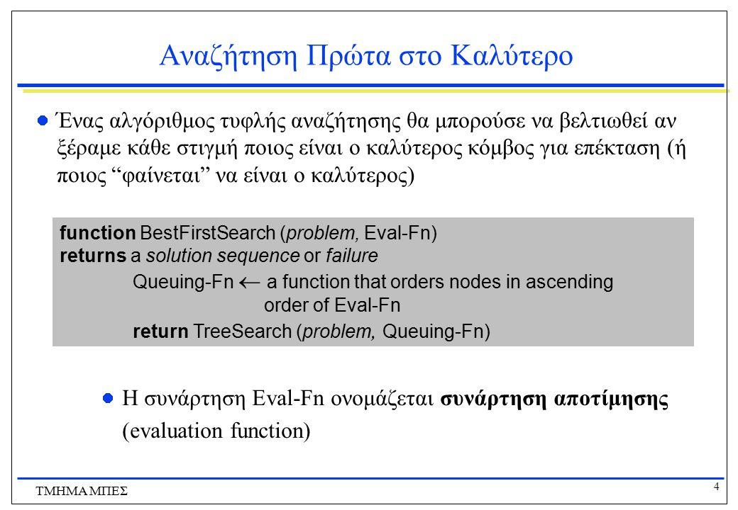 5 ΤΜΗΜΑ ΜΠΕΣ Συναρτήσεις Αποτίμησης & Ευριστικές Συναρτήσεις Υπάρχει μια ολόκληρη οικογένεια από αλγόριθμους best-first αναζήτησης με διαφορετικές συναρτήσεις αποτίμησης Ένα βασικό συστατικό αυτών των αλγορίθμων είναι μια ευριστική συνάρτηση (heuristic function) h, τέτοια ώστε  h(n) είναι το εκτιμώμενο κόστος του φτηνότερου μονοπατιού από την κατάσταση στον κόμβο n ως μια κατάσταση στόχου Η h μπορεί να είναι οποιαδήποτε συνάρτηση τέτοια ώστε h(n) = 0 αν το n αντιστοιχεί σε κατάσταση στόχου Για να βρούμε όμως μια καλή ευριστική συνάρτηση χρειαζόμαστε πληροφορία σχετικά με το συγκεκριμένο πρόβλημα