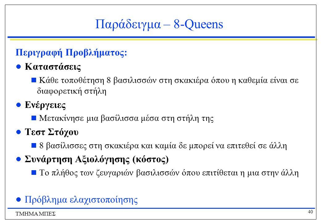 40 ΤΜΗΜΑ ΜΠΕΣ Παράδειγμα – 8-Queens Περιγραφή Προβλήματος: Καταστάσεις  Κάθε τοποθέτηση 8 βασιλισσών στη σκακιέρα όπου η καθεμία είναι σε διαφορετική