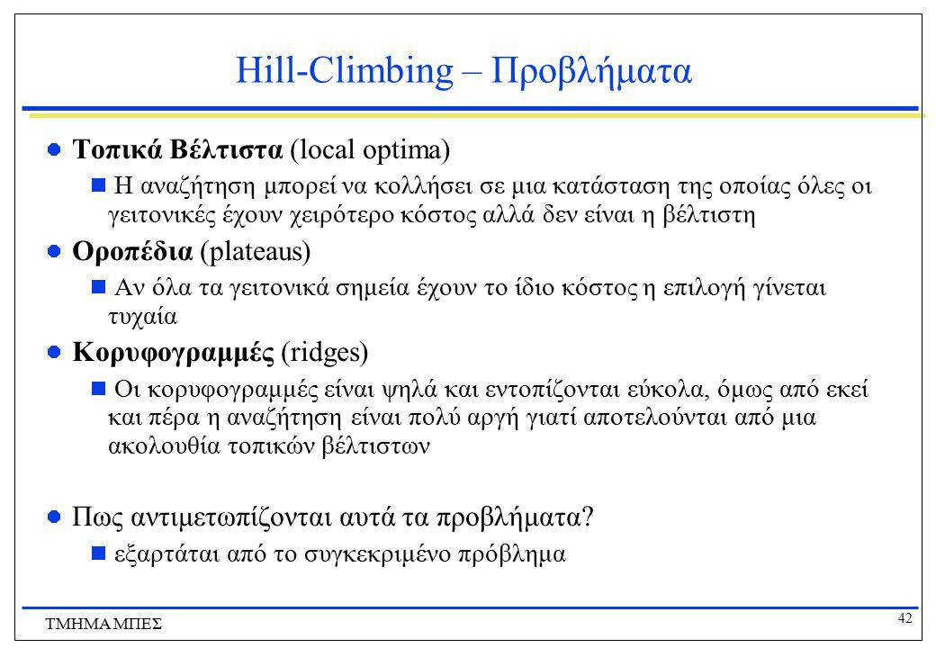 42 ΤΜΗΜΑ ΜΠΕΣ Hill-Climbing – Προβλήματα Τοπικά Βέλτιστα (local optima)  Η αναζήτηση μπορεί να κολλήσει σε μια κατάσταση της οποίας όλες οι γειτονικέ