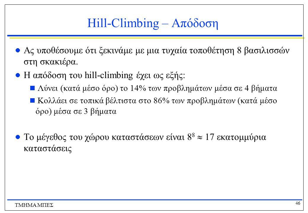 46 ΤΜΗΜΑ ΜΠΕΣ Hill-Climbing – Απόδοση Ας υποθέσουμε ότι ξεκινάμε με μια τυχαία τοποθέτηση 8 βασιλισσών στη σκακιέρα. Η απόδοση του hill-climbing έχει