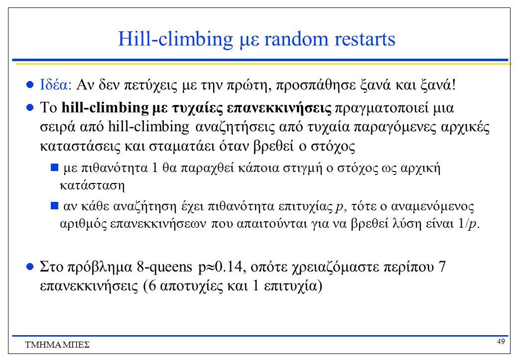 49 ΤΜΗΜΑ ΜΠΕΣ Hill-climbing με random restarts Ιδέα: Αν δεν πετύχεις με την πρώτη, προσπάθησε ξανά και ξανά! Το hill-climbing με τυχαίες επανεκκινήσει