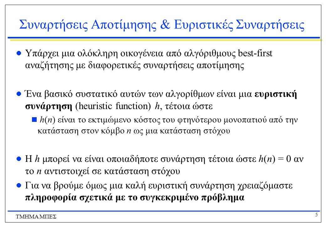 16 ΤΜΗΜΑ ΜΠΕΣ Ο Αλγόριθμος Α* Αξιολόγηση (με τις προηγούμενες παραδοχές):  Πλήρης .