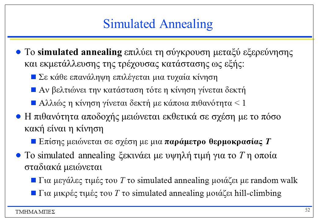 52 ΤΜΗΜΑ ΜΠΕΣ Simulated Annealing Το simulated annealing επιλύει τη σύγκρουση μεταξύ εξερεύνησης και εκμετάλλευσης της τρέχουσας κατάστασης ως εξής: 