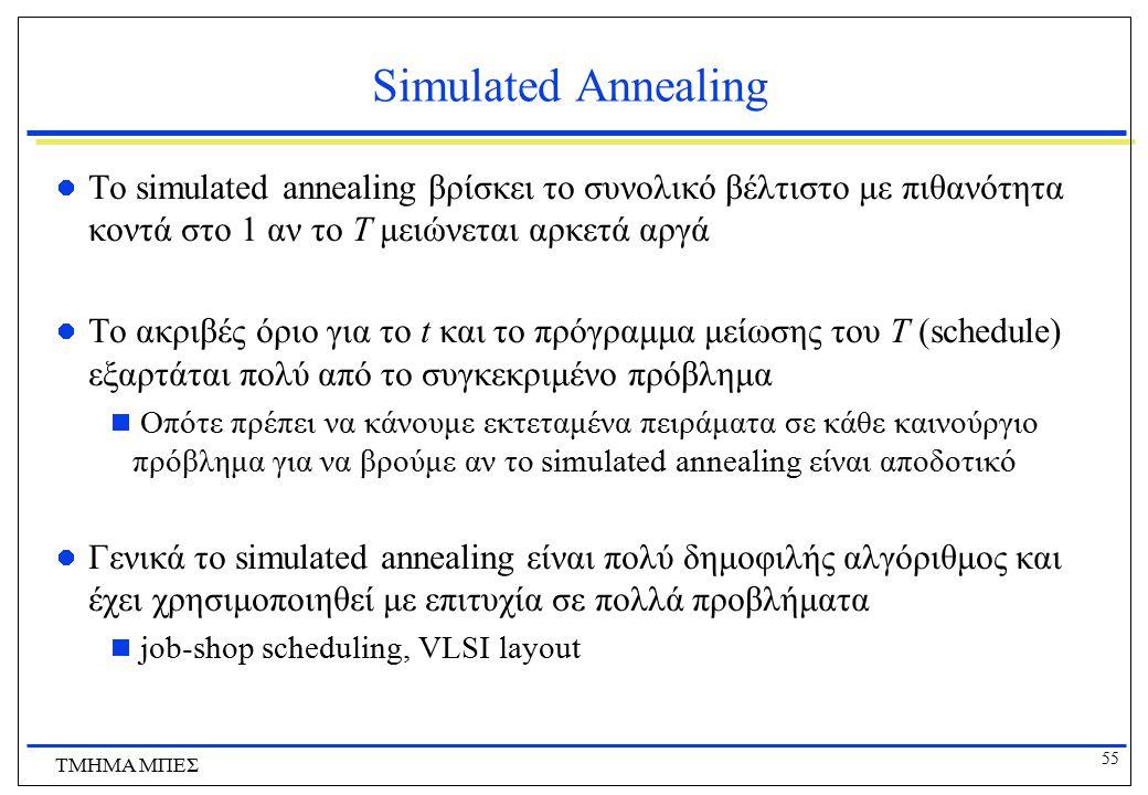 55 ΤΜΗΜΑ ΜΠΕΣ Simulated Annealing Το simulated annealing βρίσκει το συνολικό βέλτιστο με πιθανότητα κοντά στο 1 αν το Τ μειώνεται αρκετά αργά Το ακριβ