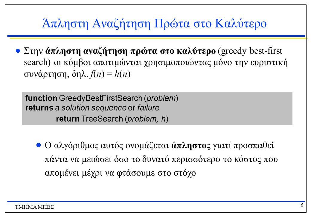 6 ΤΜΗΜΑ ΜΠΕΣ Άπληστη Αναζήτηση Πρώτα στο Καλύτερο Στην άπληστη αναζήτηση πρώτα στο καλύτερο (greedy best-first search) οι κόμβοι αποτιμώνται χρησιμοπο