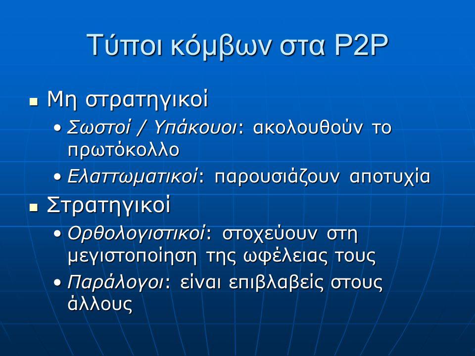 Τύποι κόμβων στα P2P Μη στρατηγικοί Μη στρατηγικοί Σωστοί / Υπάκουοι: ακολουθούν το πρωτόκολλοΣωστοί / Υπάκουοι: ακολουθούν το πρωτόκολλο Ελαττωματικοί: παρουσιάζουν αποτυχίαΕλαττωματικοί: παρουσιάζουν αποτυχία Στρατηγικοί Στρατηγικοί Ορθολογιστικοί: στοχεύουν στη μεγιστοποίηση της ωφέλειας τουςΟρθολογιστικοί: στοχεύουν στη μεγιστοποίηση της ωφέλειας τους Παράλογοι: είναι επιβλαβείς στους άλλουςΠαράλογοι: είναι επιβλαβείς στους άλλους