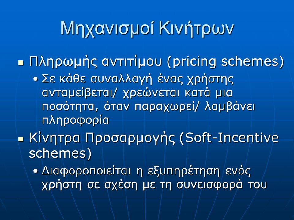 Μηχανισμοί Κινήτρων Πληρωμής αντιτίμου (pricing schemes) Πληρωμής αντιτίμου (pricing schemes) Σε κάθε συναλλαγή ένας χρήστης ανταμείβεται/ χρεώνεται κατά μια ποσότητα, όταν παραχωρεί/ λαμβάνει πληροφορίαΣε κάθε συναλλαγή ένας χρήστης ανταμείβεται/ χρεώνεται κατά μια ποσότητα, όταν παραχωρεί/ λαμβάνει πληροφορία Κίνητρα Προσαρμογής (Soft-Incentive schemes) Κίνητρα Προσαρμογής (Soft-Incentive schemes) Διαφοροποιείται η εξυπηρέτηση ενός χρήστη σε σχέση με τη συνεισφορά τουΔιαφοροποιείται η εξυπηρέτηση ενός χρήστη σε σχέση με τη συνεισφορά του