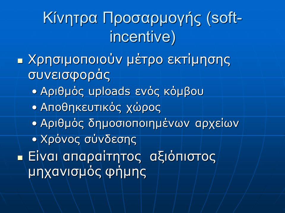 Κίνητρα Προσαρμογής (soft- incentive) Χρησιμοποιούν μέτρο εκτίμησης συνεισφοράς Χρησιμοποιούν μέτρο εκτίμησης συνεισφοράς Αριθμός uploads ενός κόμβουΑριθμός uploads ενός κόμβου Αποθηκευτικός χώροςΑποθηκευτικός χώρος Αριθμός δημοσιοποιημένων αρχείωνΑριθμός δημοσιοποιημένων αρχείων Χρόνος σύνδεσηςΧρόνος σύνδεσης Είναι απαραίτητος αξιόπιστος μηχανισμός φήμης Είναι απαραίτητος αξιόπιστος μηχανισμός φήμης