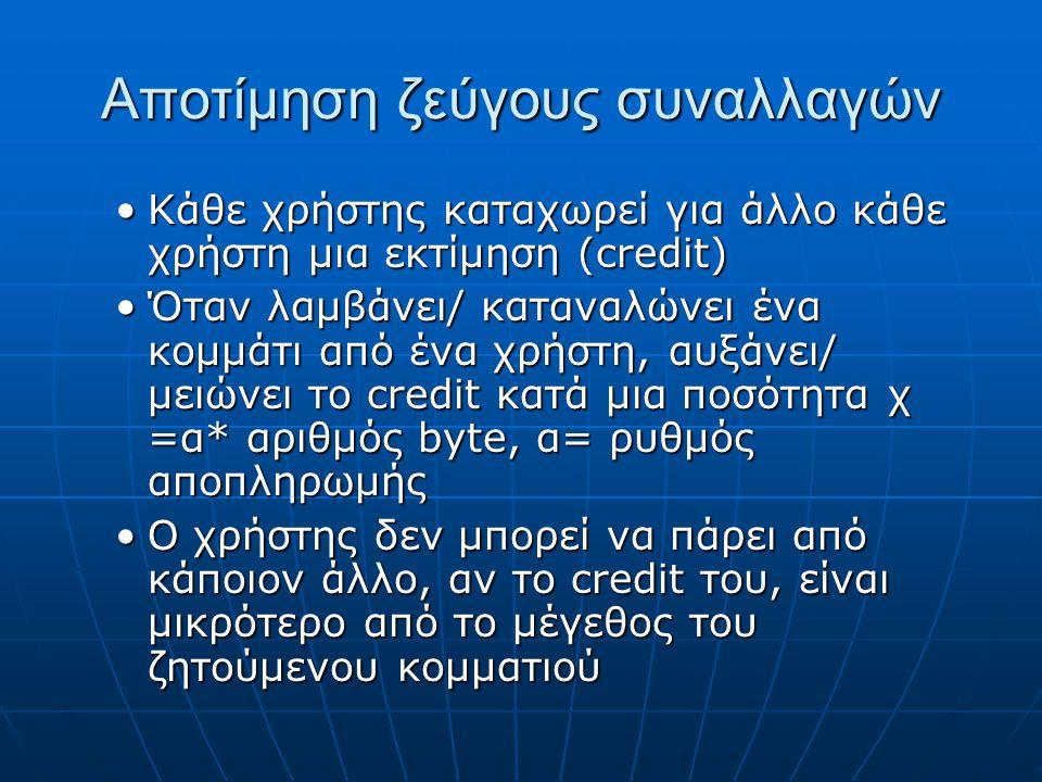 Αποτίμηση ζεύγους συναλλαγών Κάθε χρήστης καταχωρεί για άλλο κάθε χρήστη μια εκτίμηση (credit)Κάθε χρήστης καταχωρεί για άλλο κάθε χρήστη μια εκτίμηση (credit) Όταν λαμβάνει/ καταναλώνει ένα κομμάτι από ένα χρήστη, αυξάνει/ μειώνει το credit κατά μια ποσότητα χ =α* αριθμός byte, α= ρυθμός αποπληρωμήςΌταν λαμβάνει/ καταναλώνει ένα κομμάτι από ένα χρήστη, αυξάνει/ μειώνει το credit κατά μια ποσότητα χ =α* αριθμός byte, α= ρυθμός αποπληρωμής Ο χρήστης δεν μπορεί να πάρει από κάποιον άλλο, αν το credit του, είναι μικρότερο από το μέγεθος του ζητούμενου κομματιούΟ χρήστης δεν μπορεί να πάρει από κάποιον άλλο, αν το credit του, είναι μικρότερο από το μέγεθος του ζητούμενου κομματιού