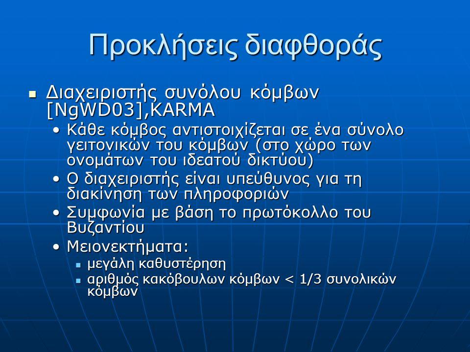 Διαχειριστής συνόλου κόμβων [NgWD03],KARMA Διαχειριστής συνόλου κόμβων [NgWD03],KARMA Κάθε κόμβος αντιστοιχίζεται σε ένα σύνολο γειτονικών του κόμβων (στο χώρο των ονομάτων του ιδεατού δικτύου)Κάθε κόμβος αντιστοιχίζεται σε ένα σύνολο γειτονικών του κόμβων (στο χώρο των ονομάτων του ιδεατού δικτύου) Ο διαχειριστής είναι υπεύθυνος για τη διακίνηση των πληροφοριώνΟ διαχειριστής είναι υπεύθυνος για τη διακίνηση των πληροφοριών Συμφωνία με βάση το πρωτόκολλο του ΒυζαντίουΣυμφωνία με βάση το πρωτόκολλο του Βυζαντίου Μειονεκτήματα:Μειονεκτήματα: μεγάλη καθυστέρηση μεγάλη καθυστέρηση αριθμός κακόβουλων κόμβων < 1/3 συνολικών κόμβων αριθμός κακόβουλων κόμβων < 1/3 συνολικών κόμβων Προκλήσεις διαφθοράς