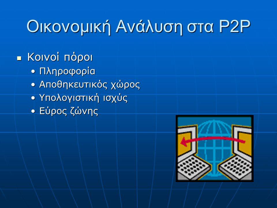 Οικονομική Ανάλυση στα P2P Κόστος συμμετοχής Κόστος συμμετοχής Αποθηκευτικός χώρος πληροφορίαςΑποθηκευτικός χώρος πληροφορίας Εύρος ζώνης μετάδοσης πληροφορίαςΕύρος ζώνης μετάδοσης πληροφορίας Καθυστέρηση μονοπατιού απόκτησης πληροφορίαςΚαθυστέρηση μονοπατιού απόκτησης πληροφορίας Δρομολόγηση αιτημάτωνΔρομολόγηση αιτημάτων Συντήρηση και διαχείριση πληροφοριών για άλλους κόμβουςΣυντήρηση και διαχείριση πληροφοριών για άλλους κόμβους