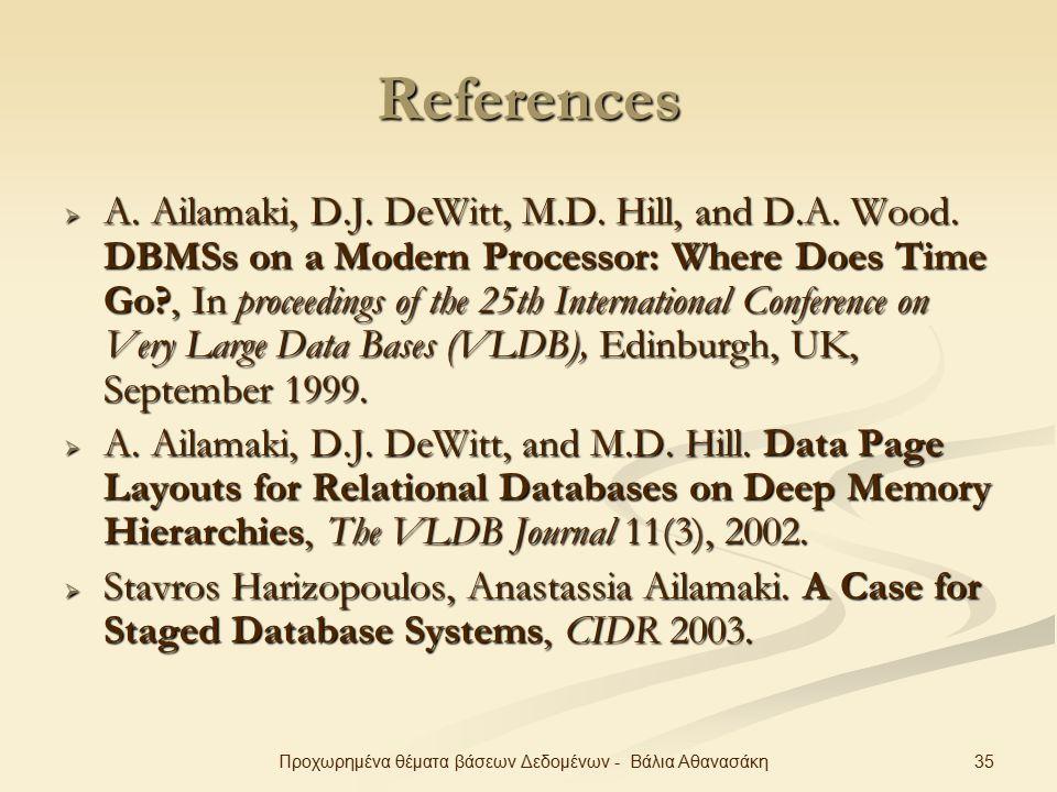 35Προχωρημένα θέματα βάσεων Δεδομένων - Βάλια Αθανασάκη References  A.