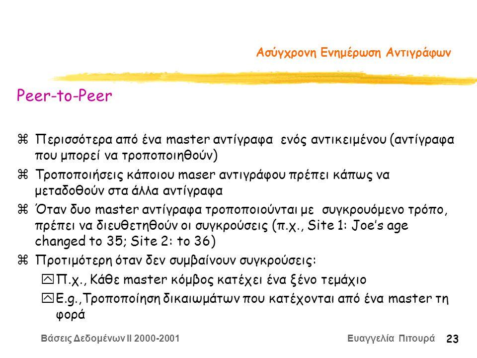 Βάσεις Δεδομένων II 2000-2001 Ευαγγελία Πιτουρά 23 Ασύγχρονη Ενημέρωση Αντιγράφων Peer-to-Peer zΠερισσότερα από ένα master αντίγραφα ενός αντικειμένου (αντίγραφα που μπορεί να τροποποιηθούν) zΤροποποιήσεις κάποιου maser αντιγράφου πρέπει κάπως να μεταδοθούν στα άλλα αντίγραφα zΌταν δυο master αντίγραφα τροποποιούνται με συγκρουόμενο τρόπο, πρέπει να διευθετηθούν οι συγκρούσεις (π.χ., Site 1: Joe's age changed to 35; Site 2: to 36) zΠροτιμότερη όταν δεν συμβαίνουν συγκρούσεις: yΠ.χ., Κάθε master κόμβος κατέχει ένα ξένο τεμάχιο yE.g.,Τροποποίηση δικαιωμάτων που κατέχονται από ένα master τη φορά