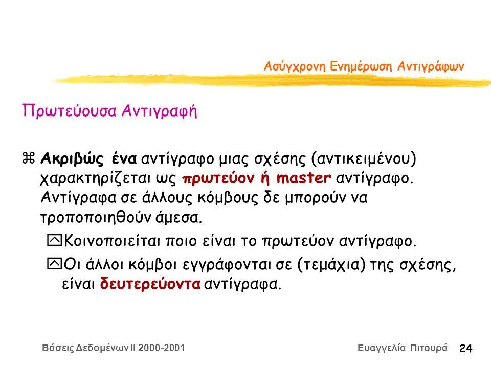 Βάσεις Δεδομένων II 2000-2001 Ευαγγελία Πιτουρά 24 Ασύγχρονη Ενημέρωση Αντιγράφων Πρωτεύουσα Αντιγραφή zΑκριβώς ένα αντίγραφο μιας σχέσης (αντικειμένου) χαρακτηρίζεται ως πρωτεύον ή master αντίγραφο.