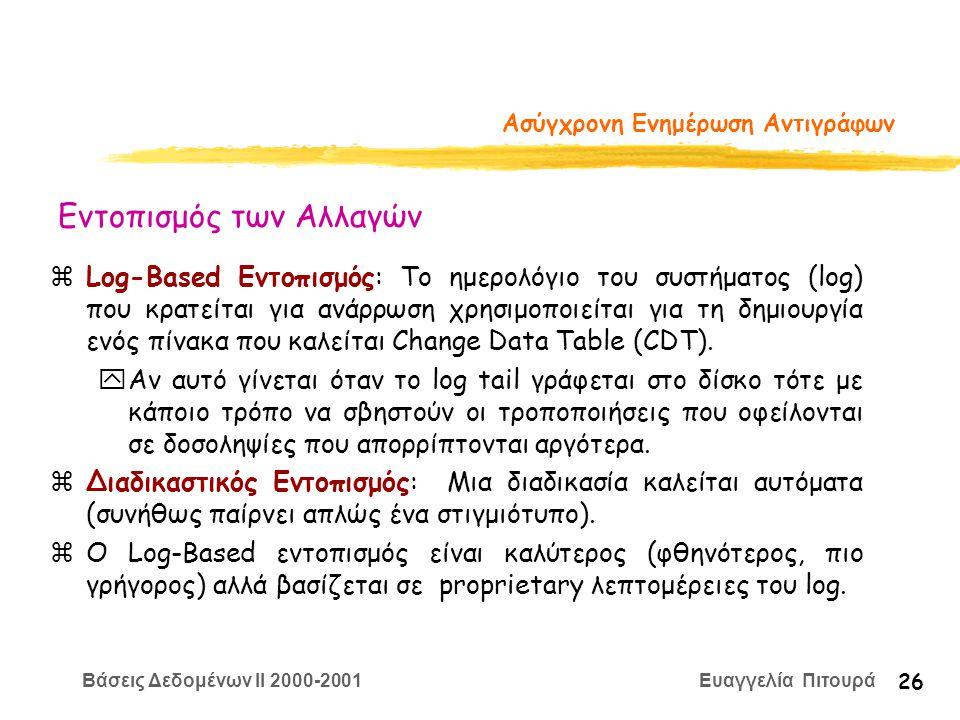 Βάσεις Δεδομένων II 2000-2001 Ευαγγελία Πιτουρά 26 Ασύγχρονη Ενημέρωση Αντιγράφων zLog-Based Εντοπισμός: Το ημερολόγιο του συστήματος (log) που κρατείται για ανάρρωση χρησιμοποιείται για τη δημιουργία ενός πίνακα που καλείται Change Data Table (CDT).