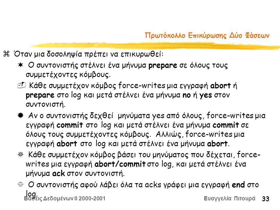Βάσεις Δεδομένων II 2000-2001 Ευαγγελία Πιτουρά 33 Πρωτόκολλο Επικύρωσης Δύο Φάσεων zΌταν μια δοσοληψία πρέπει να επικυρωθεί: ¬ Ο συντονιστής στέλνει ένα μήνυμα prepare σε όλους τους συμμετέχοντες κόμβους.