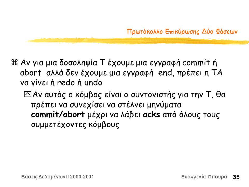 Βάσεις Δεδομένων II 2000-2001 Ευαγγελία Πιτουρά 35 Πρωτόκολλο Επικύρωσης Δύο Φάσεων zΑν για μια δοσοληψία Τ έχουμε μια εγγραφή commit ή abort αλλά δεν έχουμε μια εγγραφή end, πρέπει η ΤΑ να γίνει ή redo ή undo yΑν αυτός ο κόμβος είναι ο συντονιστής για την T, θα πρέπει να συνεχίσει να στέλνει μηνύματα commit/abort μέχρι να λάβει acks από όλους τους συμμετέχοντες κόμβους