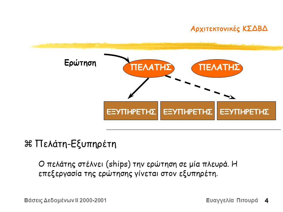 Βάσεις Δεδομένων II 2000-2001 Ευαγγελία Πιτουρά 25 Ασύγχρονη Ενημέρωση Αντιγράφων zΒασικό Θέμα: Πως οι τροποποιήσεις στο πρωτεύον αντίγραφο μεταδίδονται στα δευτερεύοντα αντίγραφα Γίνεται σε δύο βήματα xΕντοπισμός των αλλαγών xΕφαρμογή των αλλαγών