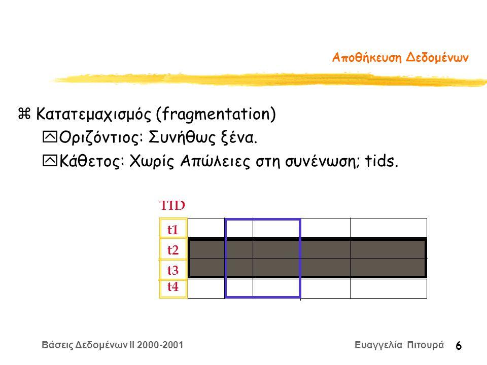 Βάσεις Δεδομένων II 2000-2001 Ευαγγελία Πιτουρά 6 Αποθήκευση Δεδομένων zΚατατεμαχισμός (fragmentation) yΟριζόντιος: Συνήθως ξένα.