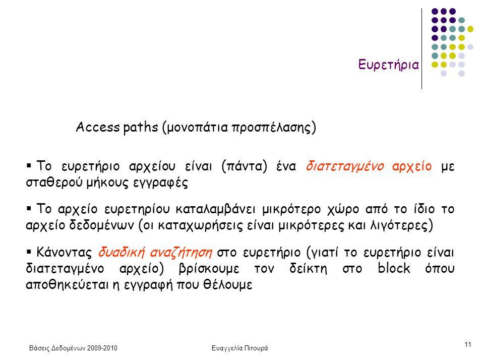 Βάσεις Δεδομένων 2009-2010Ευαγγελία Πιτουρά 11 Ευρετήρια  Το ευρετήριο αρχείου είναι (πάντα) ένα διατεταγμένο αρχείο με σταθερού μήκους εγγραφές  Το