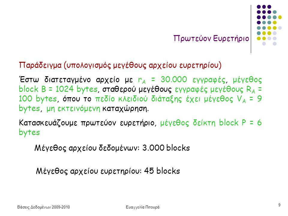 Βάσεις Δεδομένων 2009-2010Ευαγγελία Πιτουρά 20 Δευτερεύον Ευρετήριο Μέγεθος αρχείου δεδομένων: 3.000 blocks Μέγεθος αρχείου ευρετηρίου: 442 blocks Αναζήτηση χωρίς ευρετήριο (σειριακή αναζήτηση, γιατί το αρχείο δεδομένων δεν είναι ταξινομημένο): 3.000/2 = 1500 blocks Αναζήτηση με ευρετήριο:  log 442  + 1 = 10 blocks Στοιχεία όπως πριν (Έστω αρχείο με r Α = 30.000 εγγραφές, μέγεθος block B = 1024 bytes, σταθερού μεγέθους εγγραφές μεγέθους R Α = 100 bytes, μη εκτεινόμενη καταχώρηση, όπου το πεδίο κλειδιού έχει μέγεθος V Α = 9 bytes αλλά δεν είναι πεδίο διάταξης.