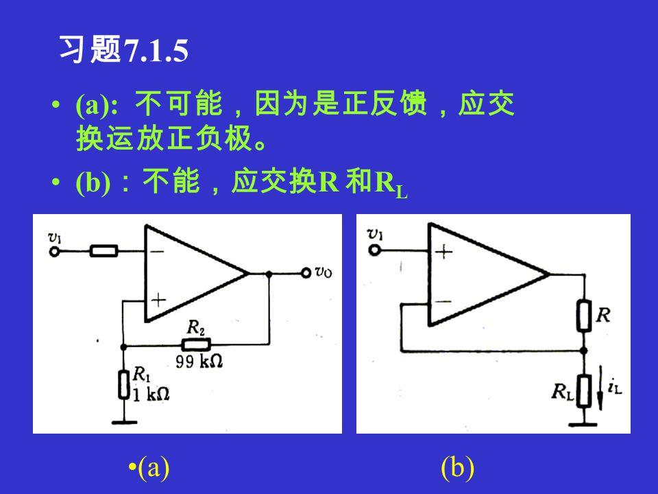 习题 7.1.4 1.R f1 引入电流串联负反馈,使 r if 提高, R f2 引入电压并联负反馈,使 r if 降低。 2.