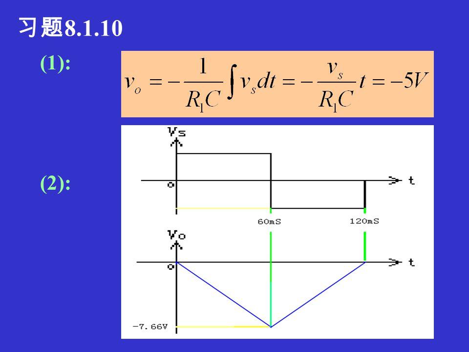 习题 8.1.9 V s =I 1 R 1, I 1 =I 2 Vm=-I2R2=-I1R2Vm=-I2R2=-I1R2 = - V S R 2 / R 1 I 4 =V M / R 4 = - R 2 V S / (R 1 R 4 )=I 1 R 2 / R 4 V O = - I 3 R 3 +V M = - (I 1 +I 4 )R 3 +V M = - I 1 (1+R 2 / R 4 )R 3 - I 1 R 2 = - (R 2 +R 3 +R 2 R 3 /R 4 )V S /R 1 V O / V S = - (R 2 +R 3 +R 2 R 3 /R 4 ) / R 1